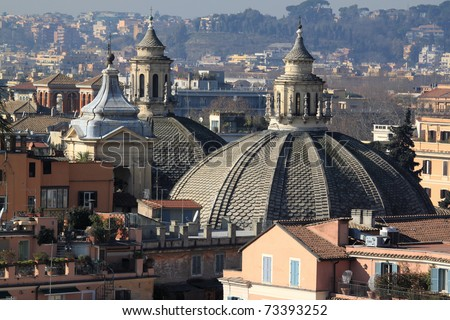 Cityscape of Rome, Italy. Skyline of Italian capital city.