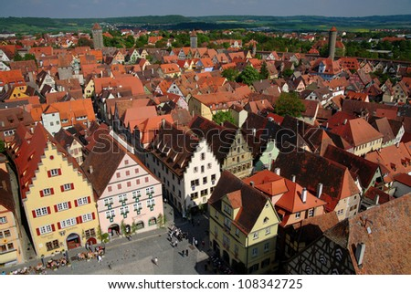 Cityscape of Rothenburg ob der Tauber