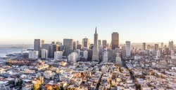 cityscape of San Francisco and skyline in sunny day