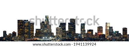 Cityscape of San Francisco at night (California, USA) isolated on white background