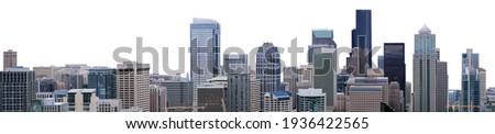 Cityscape of Seattle (Washington, USA) isolated on white background