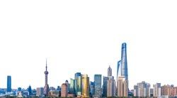Cityscape of Shanghai (China) isolated on white background