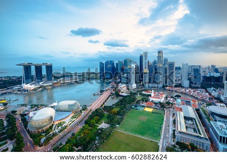 Cityscape of Singapore city in the daytime, Aerial view Singapore skyline #602882624