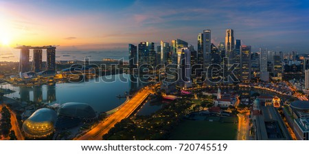 Cityscape of Singapore city sunrise and building in morning time, take photo from roof top bar in hotel stock photo