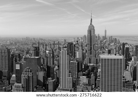 Cityscape of skyscrapers and buildings with Manhattan skyline in New York City