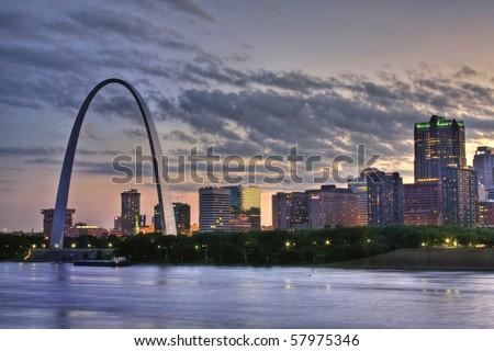 Cityscape of St. Louis Missouri at night