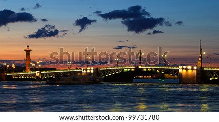 Cityscape of  St. Petersburg at white  night. Russia