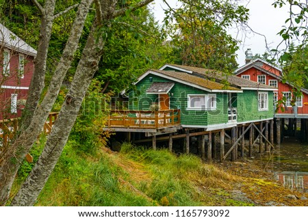 Cityscape of the architecture in the town of Telegraph Cove with colorful wooden stilt houses, Vancouver Island, British Columbia, Canada.