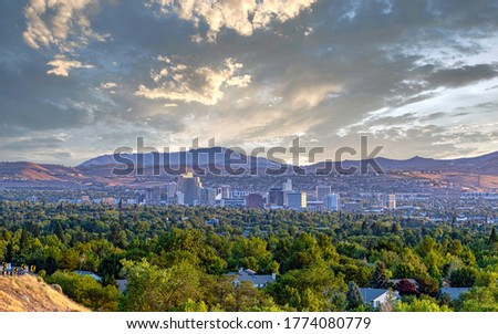 Cityscape of the downtown Reno Nevada skyline with hotels and casinos.  Stock fotó ©