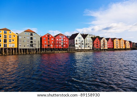 Cityscape of Trondheim, Norway - architecture background