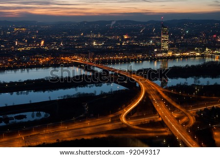 Cityscape of Vienna at night