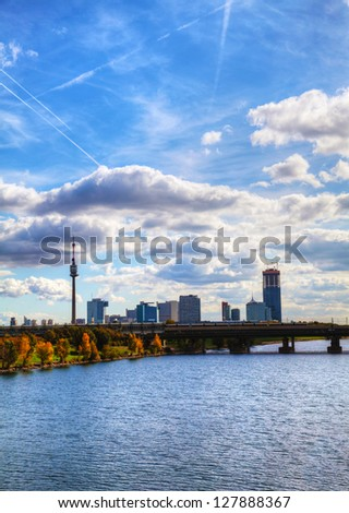 Cityscape of  Vienna downtown as seen from the park