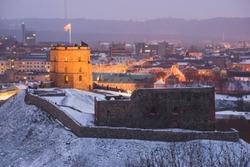 Cityscape of Vilnius, Lithuania on winter.