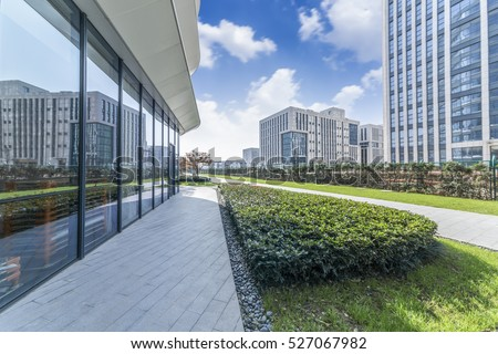 Cityscape office buildings with modern corporate architecture - business and success concept #527067982