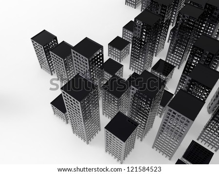 Cityscape on a white background
