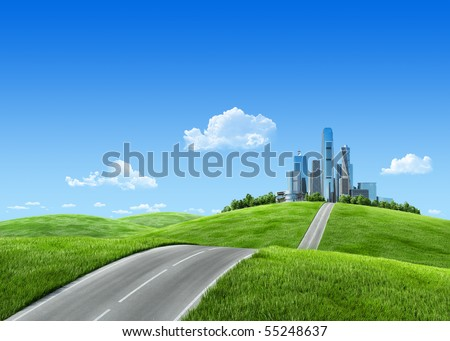 Cityscape on green grass and blue sky. Business city on the horizon. Urban Road to big city. Extremely high detailed quality render. Copyspace. Green landscapes collection.