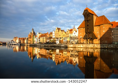 Cityscape on the Vistula River in historic city of Gdansk, Poland.
