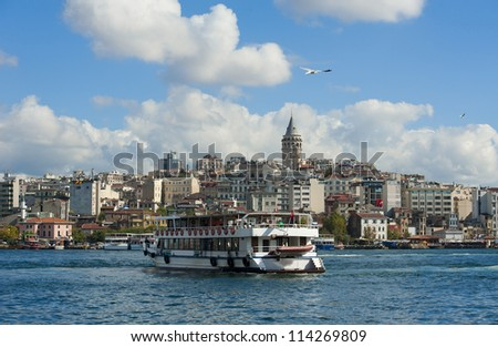 Cityscape over the Bosphorus River in Istanbul Turkey with a large residential area and Galata Tower