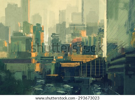 cityscape painting of urban sky-scrapers at sunset,illustration