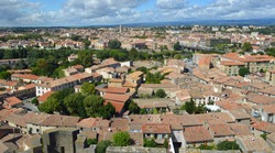 Cityscape  Panorama of the town of Carcassonne  Languedoc  -   Roussillon France.