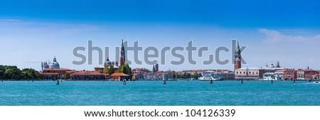 Cityscape Venice, sea view Piazza San Marco with Campanile, Doge Palace and Isola San Giorgio Maggiore in Venice, Italy.
