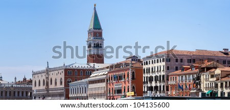 Cityscape Venice, view Piazza San Marco with Campanile, Doge Palace and San Zaccaria in Venice, Italy.