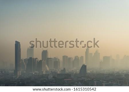 Cityscape view of Bangkok city, Thailand (Air pollution PM 2.5)