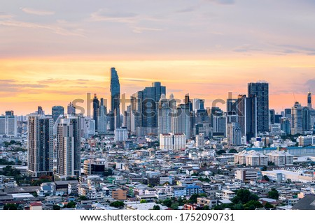 Cityscape view of Bangkok modern office with sunset sky, view from high building, Bangkok is the most populated city in Southeast Asia.Bangkok , Thailand