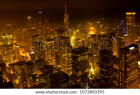 Cityscape View of City Downtown,Chicago downtown at twilight