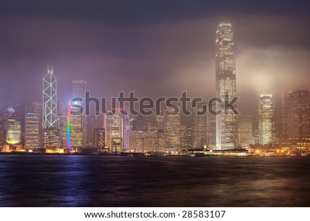 Cityscape view of Hong Kong island on a stormy weather night