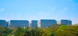 Cityscape view of IT park from MRTS chennai