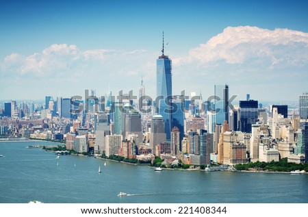 Cityscape view of Lower Manhattan as seen from helicopter, New York City, USA. #221408344