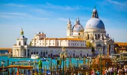 Cityscape view on Santa Maria della Salute basilica in Venice, Italy
