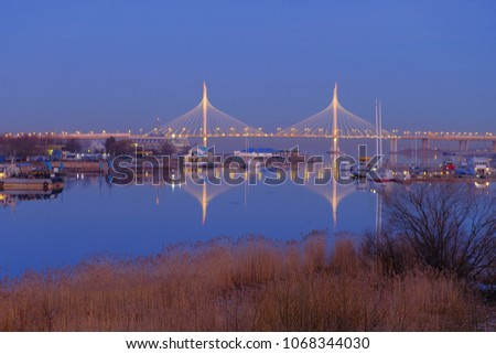 Cityscape with a bridge on the early morning. Saint Petersburg, Russia. #1068344030