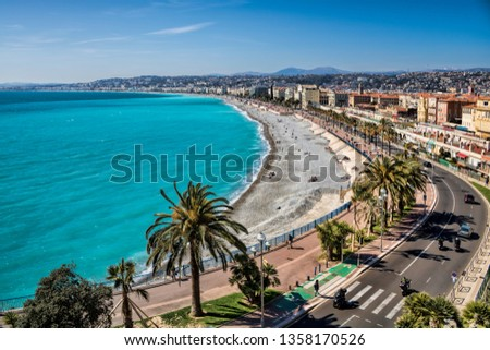 cityscape with beach in Nice, France #1358170526
