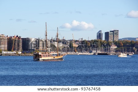 Cityscape with boats in bay. Oslo, Norway