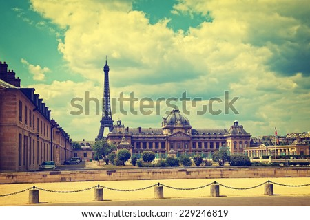Cityscape with Eiffel Tower in Paris France Vintage toned photo