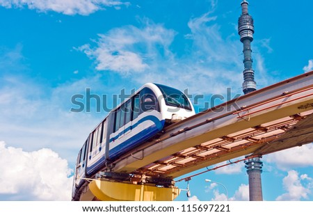 Cityscape with monorail train and TV tower Ostankino, Moscow, Russia, East Europe