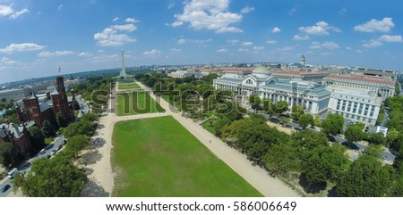 Cityscape with Museum of Natural History and Smithsonian Institution Building not far from Washington Monument on National Mall at summer sunny day in Washington DC. Aerial panorama