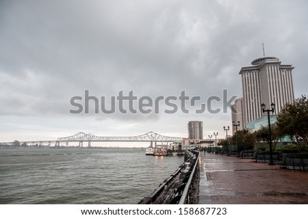 cityscape with New Orleans bridge