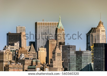 Cityscape with skyscrapers, buildings