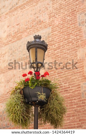 Cityscapes, facades, promenades, architecture and most popular streets. A lamp post decorated with red flowers in front of old brick facade in centre of malaga. MALAGA, SPAIN, Andalusia May 28, 2019. #1424364419
