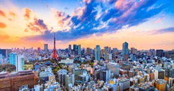 Cityscapes view sunset of Tokyo city Japan