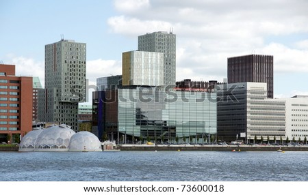 cityview of Rotterdam by the riverside