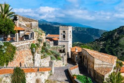 Cityview of the Savoca village in Sicily, Italy
