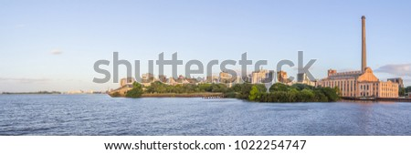 Cityview with Gasometro and Guaiba Lake at sunset, Porto Alegre, Rio Grande do Sul, Brazil