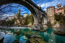 Cividale del Friuli devil`s bridge and Natisone river, Udine, Friuli Venezia Giulia, Italy