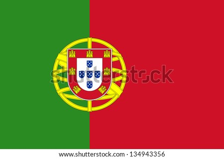 Civil and state flag and national ensign of Portugal with the lesser coat of arms. Adopted June 30, 1911.