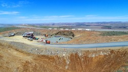 Civil Construction stages during concreting works on a new Wind farm