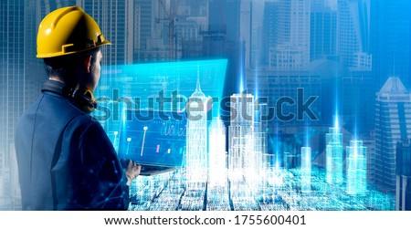 Civil Engineer, architect smart city building design AR augmented reality VR digital technology futuristic hologram